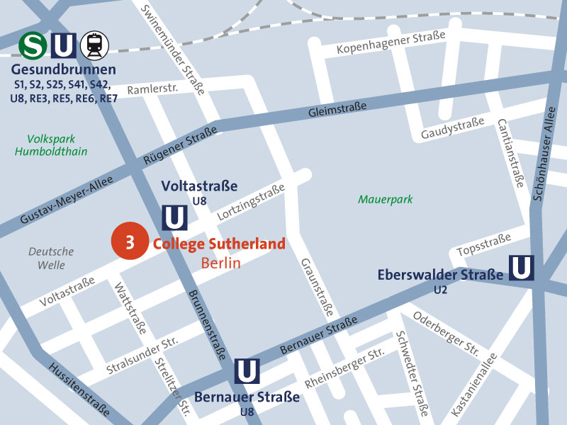Standortplan College Sutherland Berlin