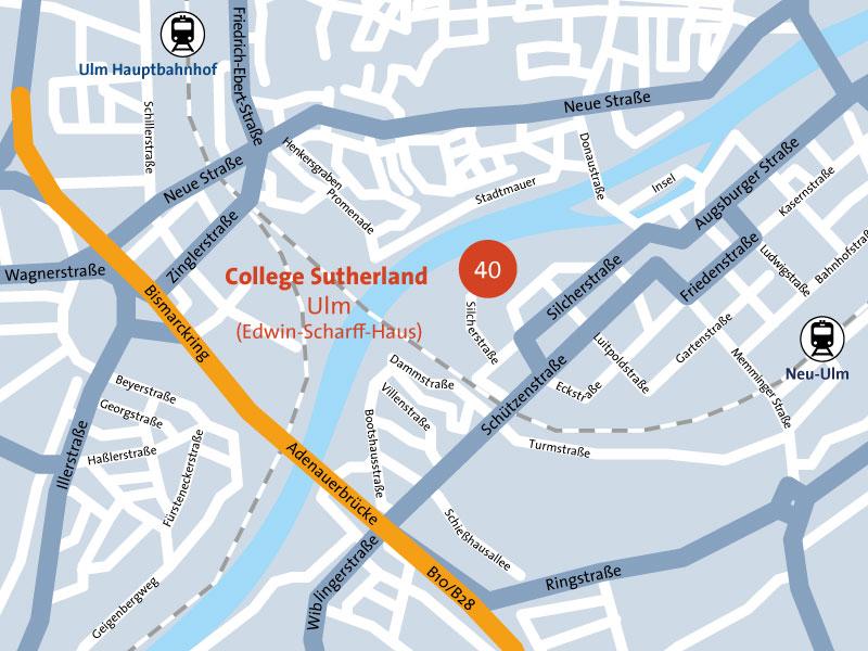 Standortplan College Sutherland Ulm